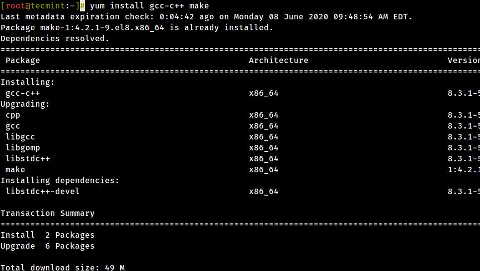 Install Development Tools in CentOS