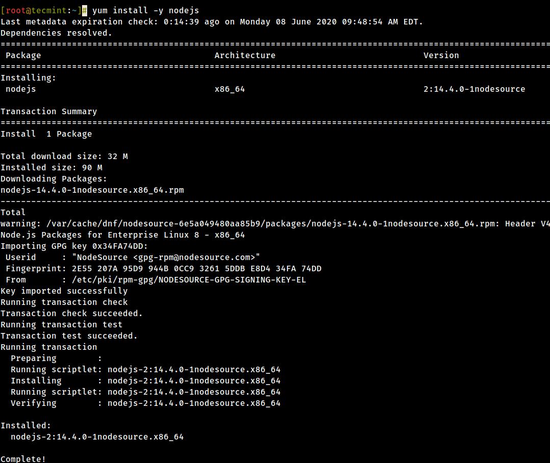 Install NodeJS in CentOS