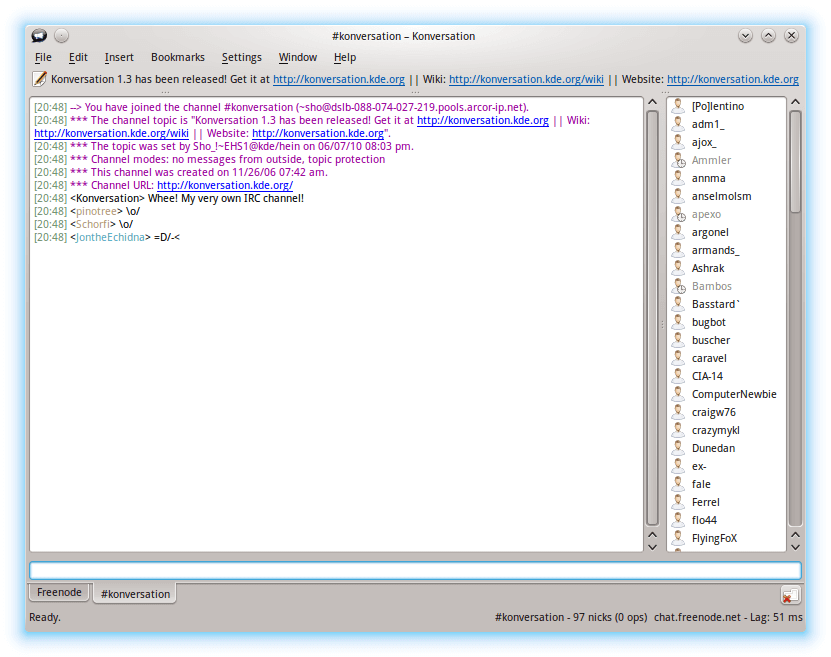 Konversation IRC Client for Linux