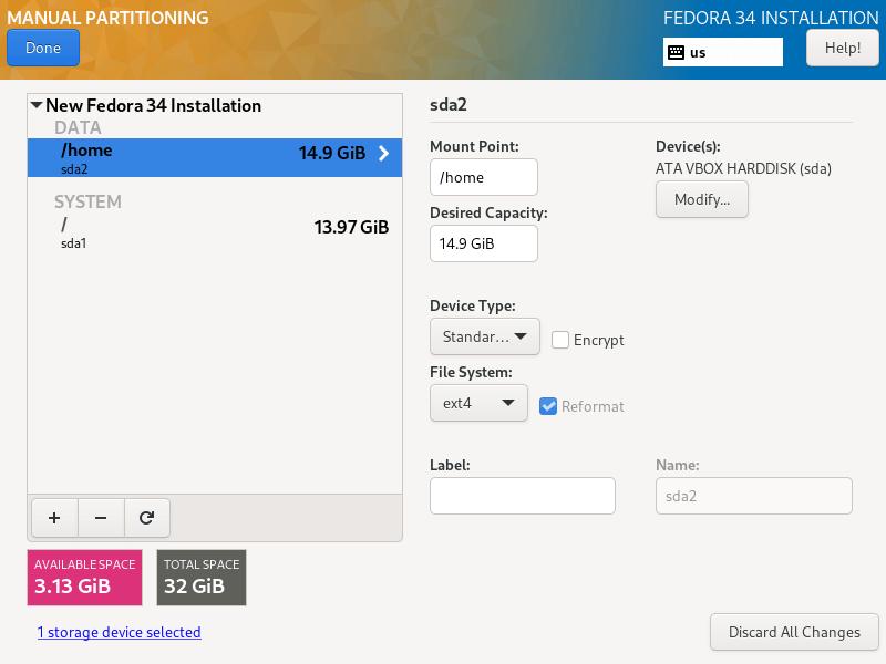 Set Home Filesystem Type