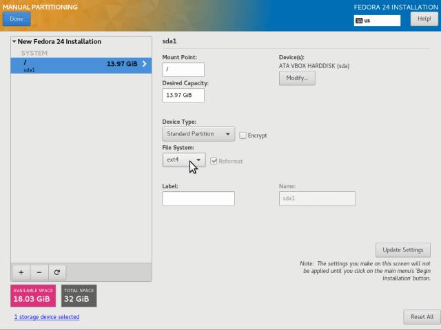 Set Root Filesystem Type