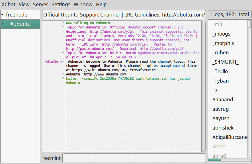 XChat IRC Client for Linux