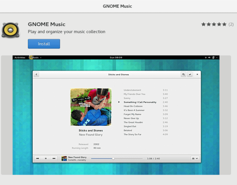 Install Gnome Music Player on Fedora 24