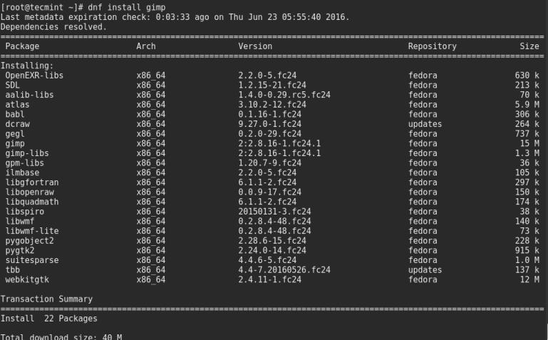Install Gimp on Fedora 24