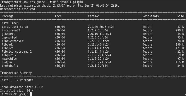 Install Pidgin in Fedora 24