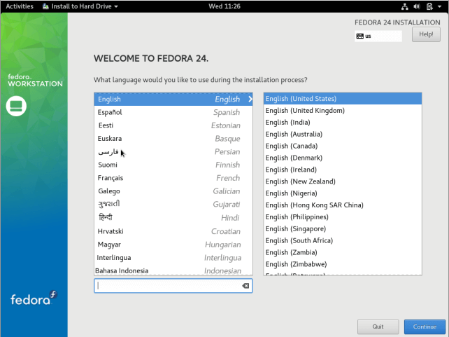 Select Fedora 24 Installation Language