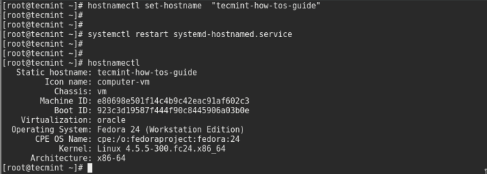 Set Fedora 24 Hostname