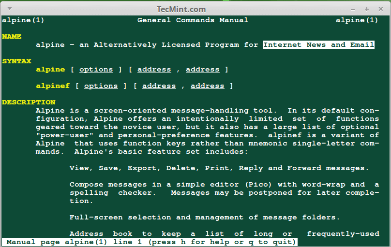 Alpine Email Client for Linux