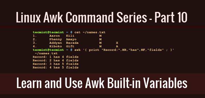 Awk Built in Variables Examples