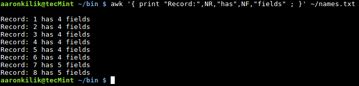 Awk Count Number of Fields in File