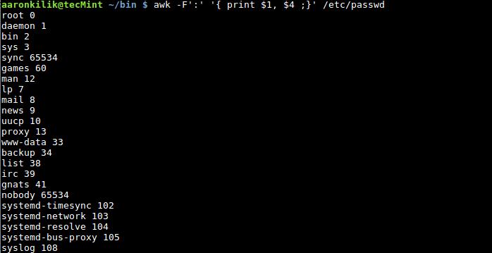Awk Filter Fields in Password File