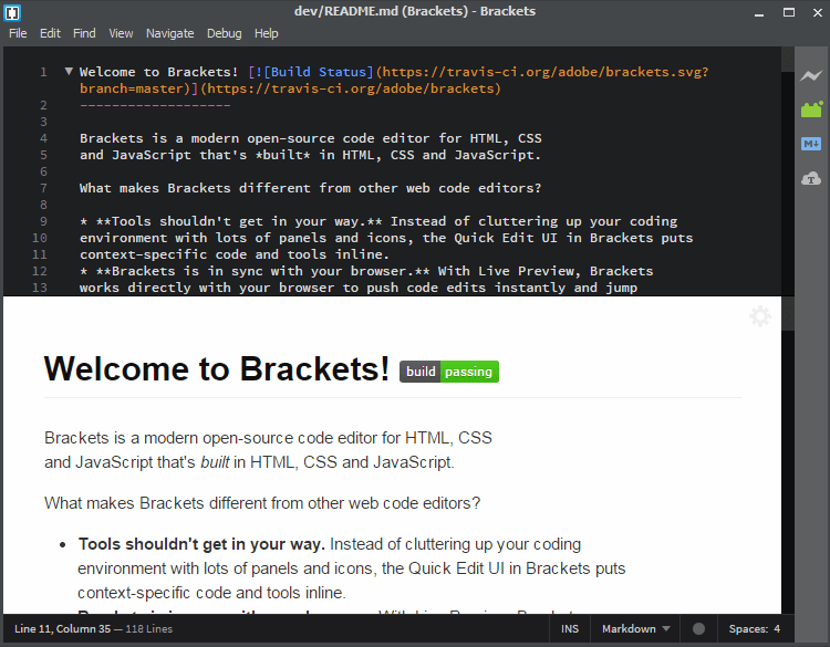 Brackets Markdown Plugin Preview