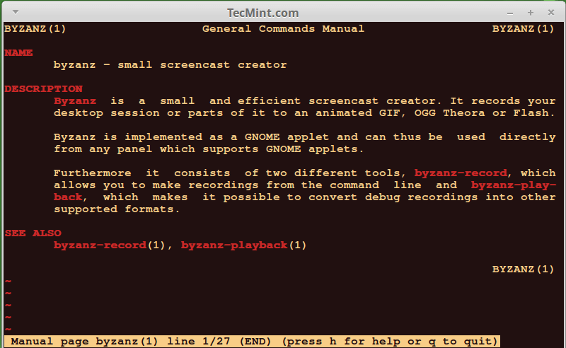 Byzanz Screen Creator for Linux