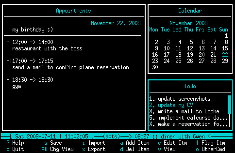 Calcurse Calendar for Linux