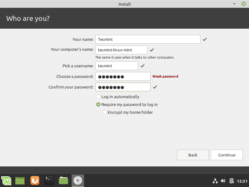 Create Linux Mint User Account