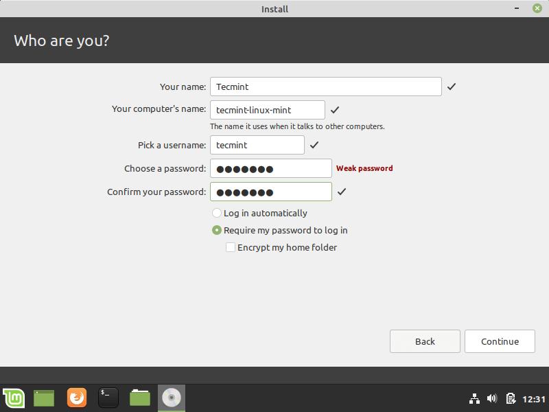 Tạo tài khoản người dùng Linux Mint