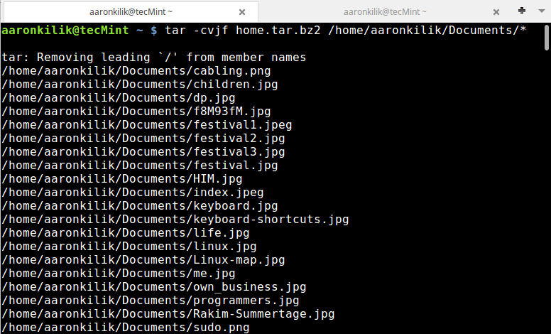 Create Tar Archive File