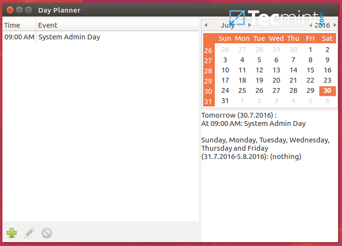 Day Planner Calendar for Linux