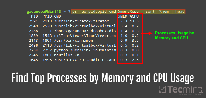 Find Linux Processes By RAM and CPU Usage