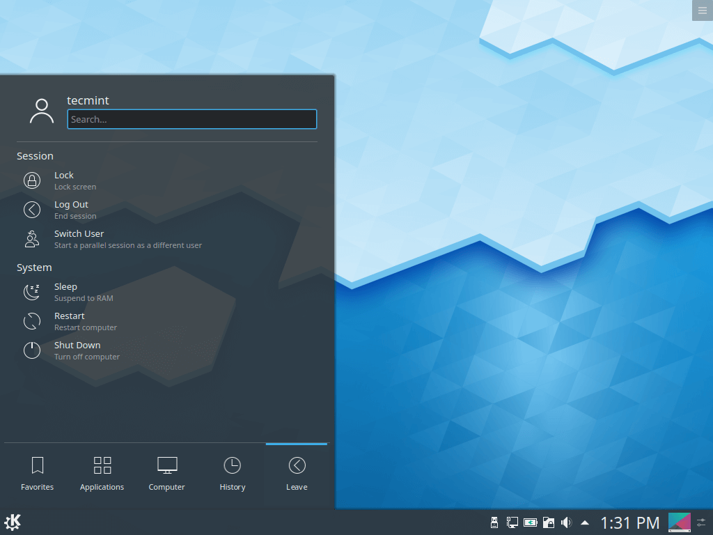 KDE Plasma Desktop View