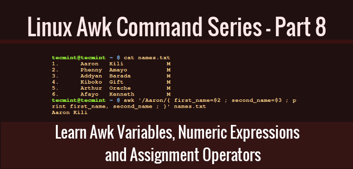 Awk variable assignment