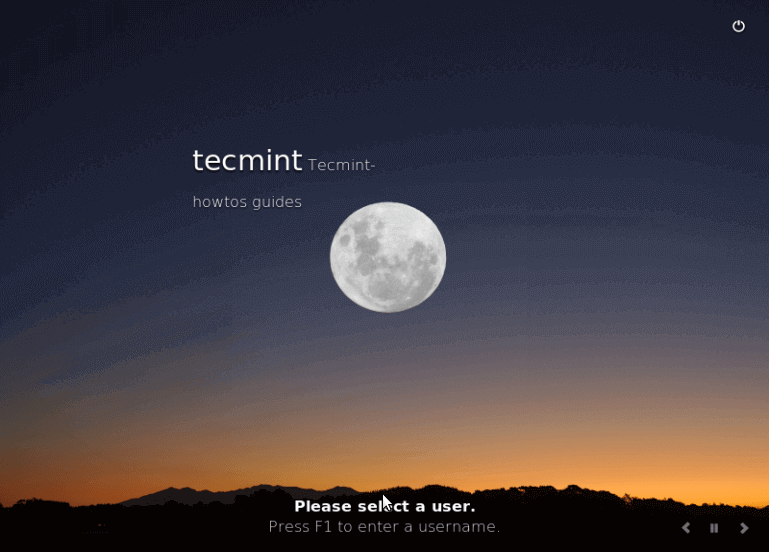 Linux Mint 18 Desktop Login Screen