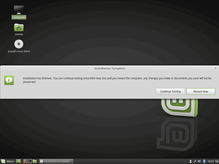 Linux Mint 19 Installation Completed