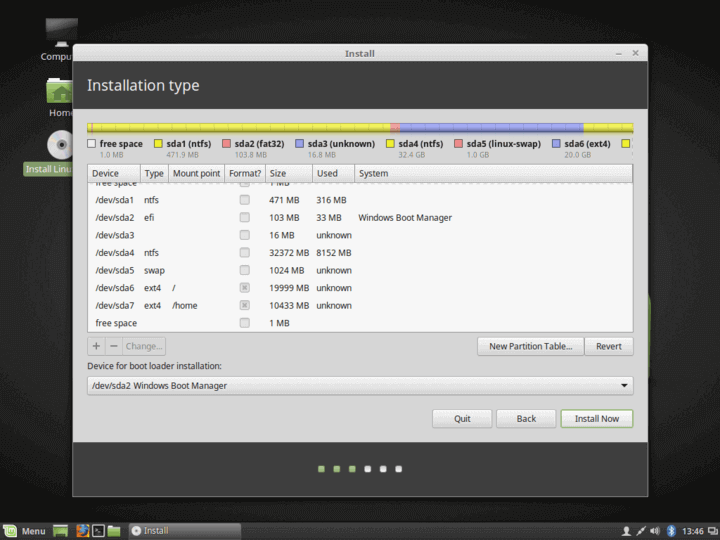 Linux Mint 18 Partition Summary