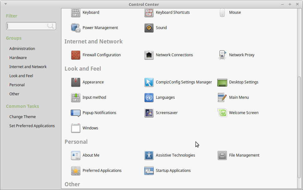 Linux Mint Control Center