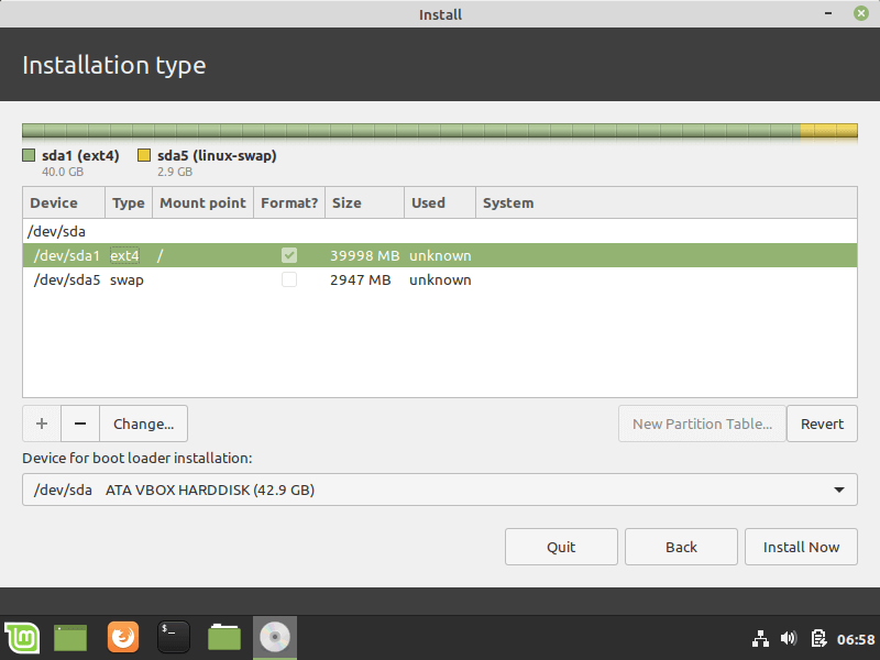 Linux Mint Partition Table