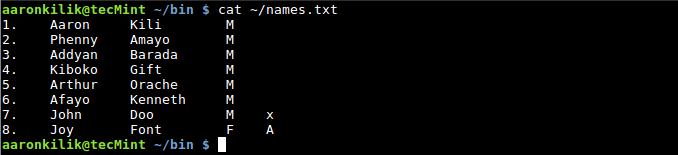 List File Contents