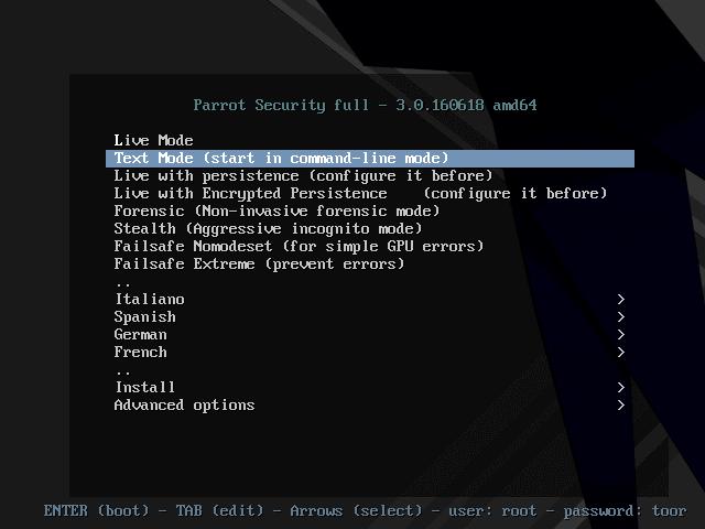 Parrot OS Boot Menu