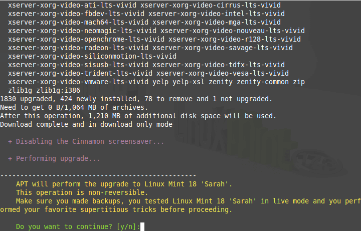 Performing Linux Mint Upgrade