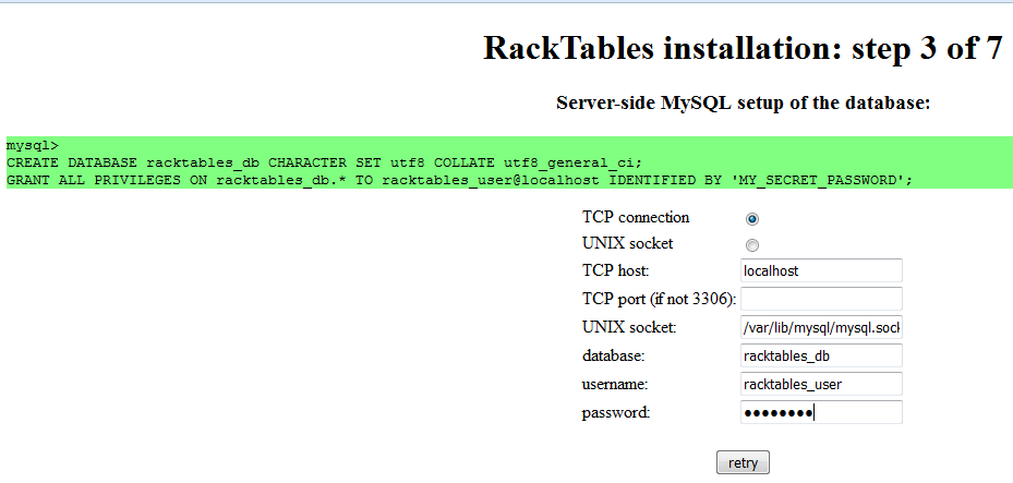 RackTables Database Settings