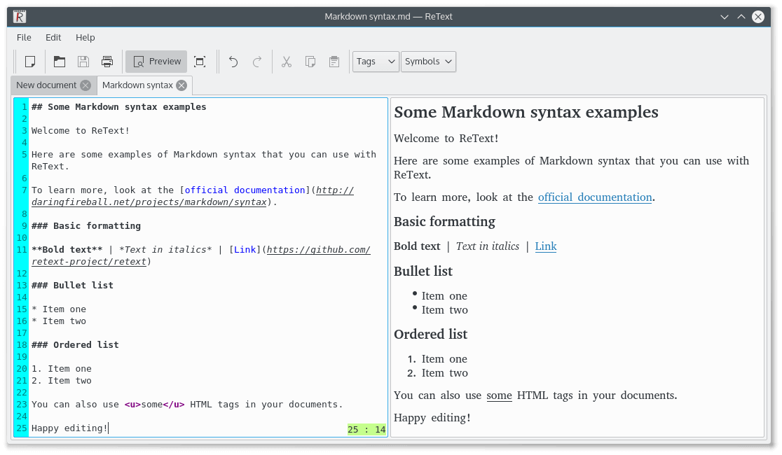 ReText Markdown Editor for Linux