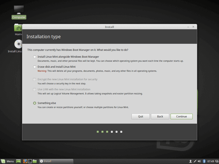 Select Installation Type for Linux Mint 18