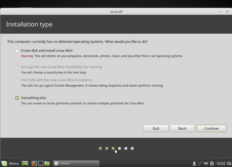 Select Linux Mint 18 Installation Type