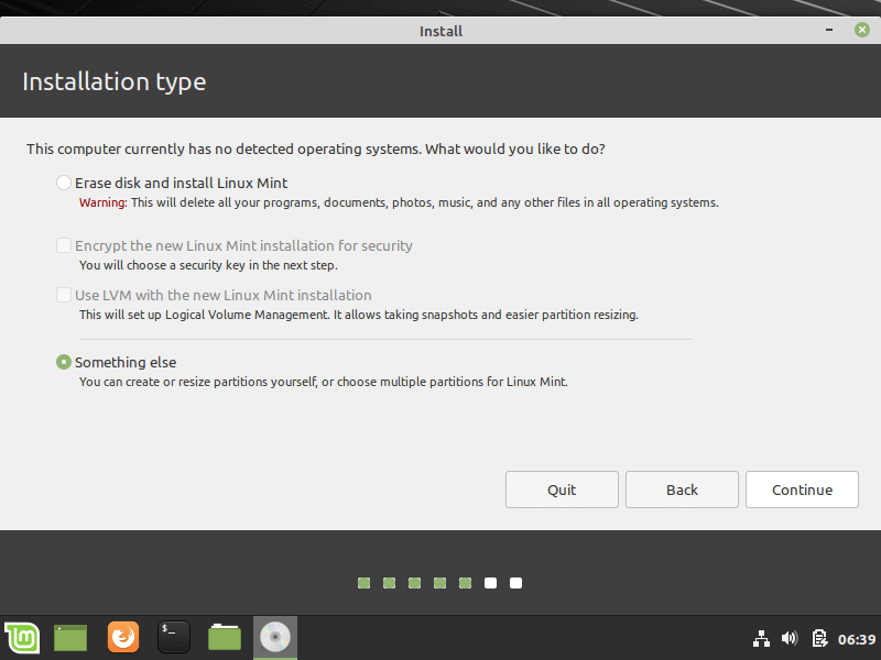 Select Linux Mint Installation Type