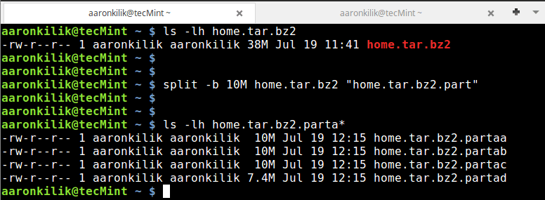 Split Tar File into Parts in Linux