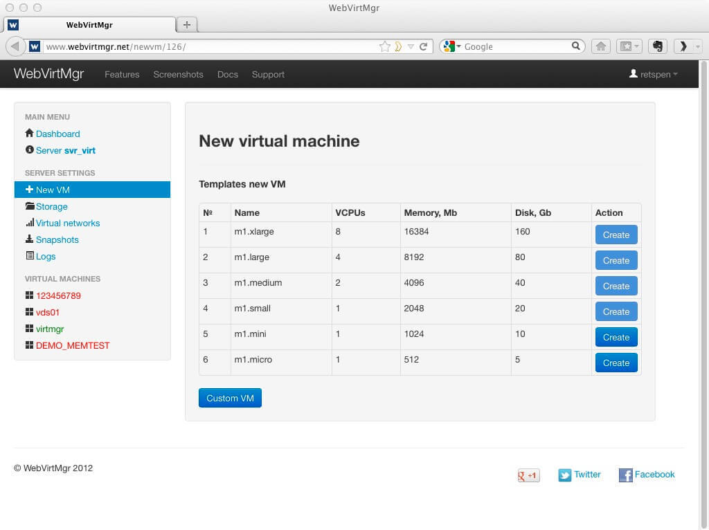 WebVirtMgr - Virtual Machine Control Panel