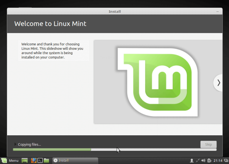 Linux Mint 18 Installation Progress
