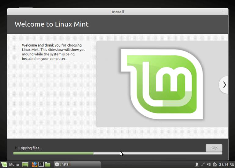 Linux Mint 18 Installation Progress