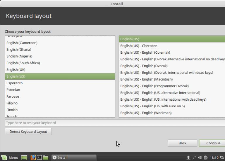 Select Default Keyboard Layout