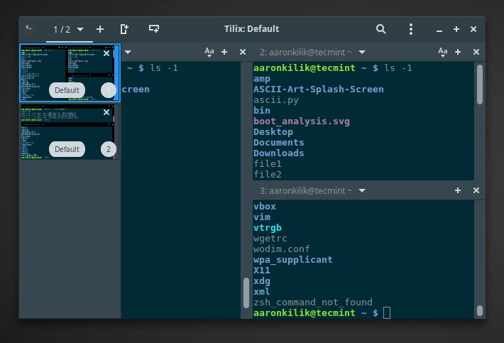 Tilix with Multiple Linux Terminal Windows