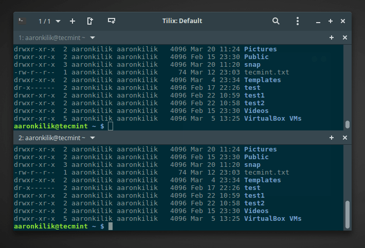 Tilix with Two Horizontal Linux Terminal Windows