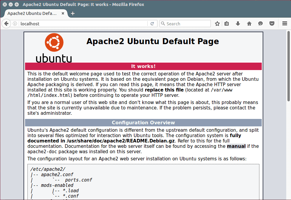 Apache Default Page Under Ubuntu 16.04
