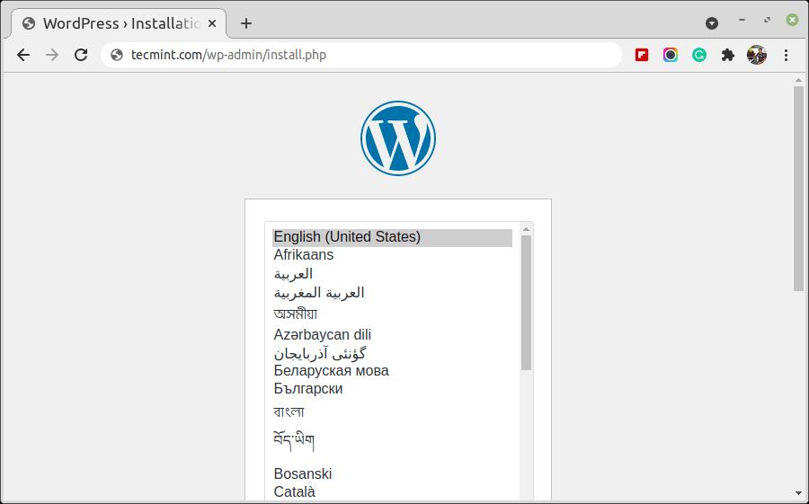 Choose WordPress Language
