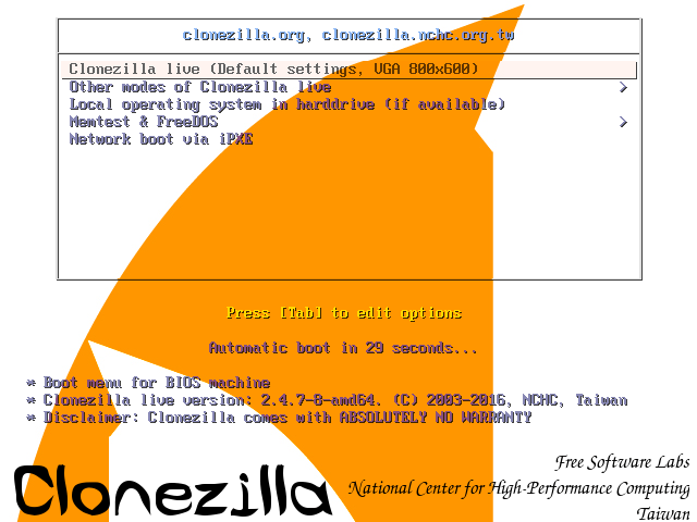Clonezilla Boot Screen