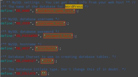 Configure WordPress MySQL Database Settings