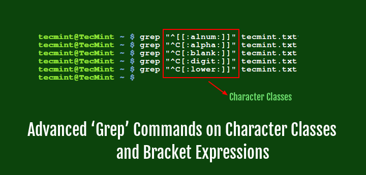 Linux Grep Commands on Character Classes